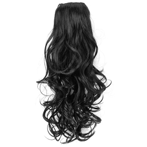 16 Inch Curly Ponytail Hair Extensions with Comb and Drawstring Hair-Pieces
