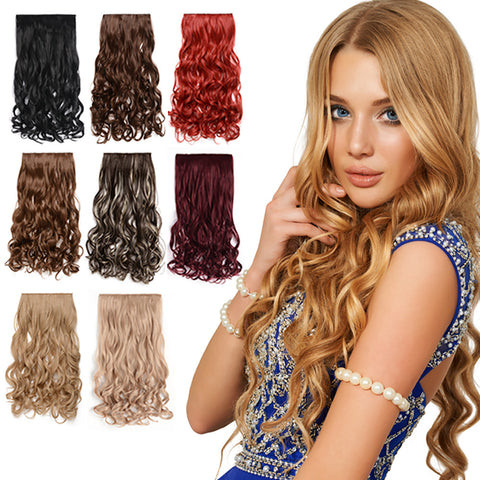 "20"" Curly 3/4 Full Head Synthetic Hair Extensions Clip On/in Hairpieces 5 Clips - OneDor"