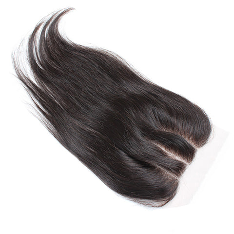 "Virgin Brazilian Afro Human Hair Bleached Knots Lace Closure Natural Black 4"" x 4"""