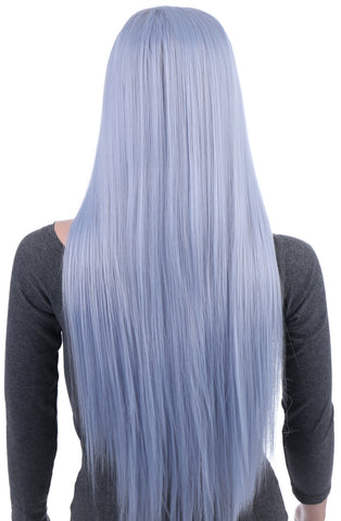 31 Inches Silver Blue Straight Long Synthetic Hair Wig with Wig Cap - OneDor
