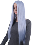 31 Inches Silver Blue Straight Long Synthetic Hair Wig with Wig Cap