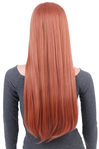29 Inches Blorange Natural Straight Long Synthetic Hair Wig with Wig Cap - OneDor