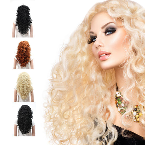 Fashion Long Hair Natural Curly Wavy Full Head Wigs Cosplay Costume Party Hairpiece - OneDor