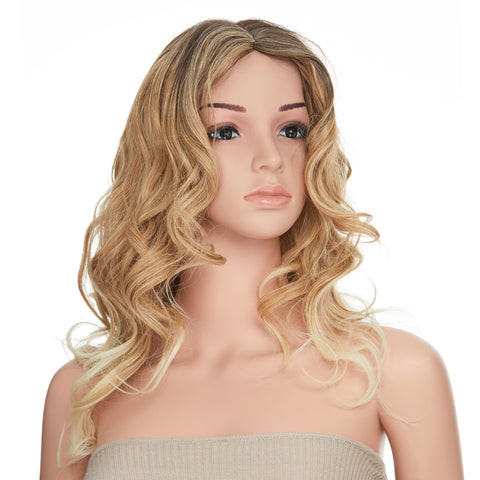 Light Blonde Ombre Wavy Dark Rooted Long Hair Cosplay Fashion Wig - OneDor