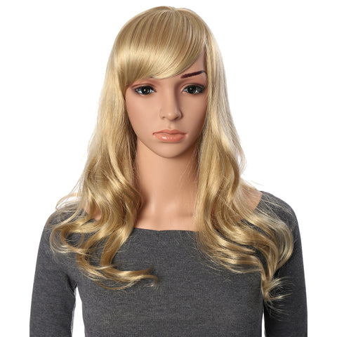 23 Inch Full Head Curly Kanekalon Hair Wig with Oblique Hair Bang Extensions