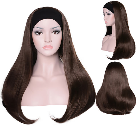 Mix Long 3/4 Women's Wigs Hairpiece Straight Hair Piece with Headband - OneDor