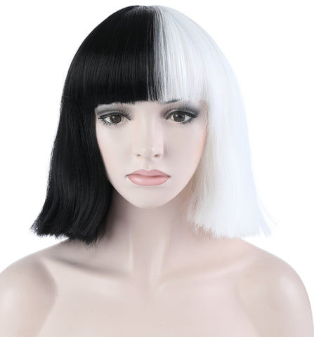 10 Inches Short Straight Flapper Bob Black & White Hair Wig