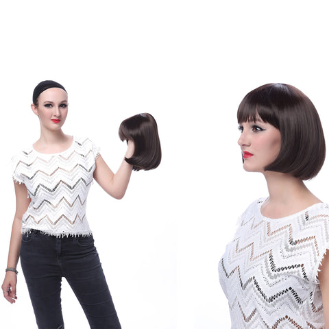 "10"" Short Straight Flapper Bob Heat Friendly Cosplay Party Costume Hair Wig - OneDor"
