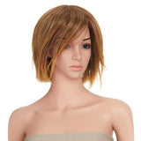 13 Inches Short Straight Honey Blonde Bob Synthetic Hair Full Wig with Wig Cap