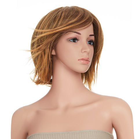 13 Inches Short Straight Honey Blonde Bob Synthetic Hair Full Wig with Wig Cap - OneDor