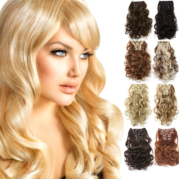 20 Curly Full Head Clip In Clip On Synthetic Hair Extensions 7 Pcs