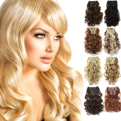 "20"" Curly Full Head Clip in Clip on Synthetic Hair Extensions 7 pcs 140g - OneDor"