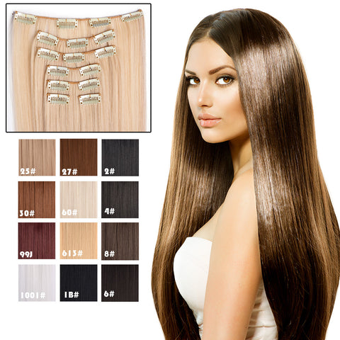 "24"" Straight Full Head Clip in Synthetic Hair Extensions 7pcs - OneDor"