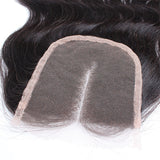 "Virgin Brazilian Afro Human Hair Bleached Knots Middle Part Body Wave Lace Closure Natural Black 4"" x 4"""