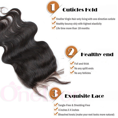 "Virgin Brazilian Afro Human Hair Bleached Knots Free Part Body Wave Lace Closure Natural Black 4"" x 4"" - OneDor"