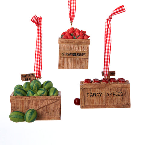 Resin Fruit Crate Christmas Ornaments 3 Assorted (Set of 12)