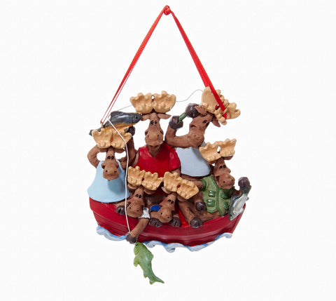 Moose Family Of 6 In Boat Personalized Ornament