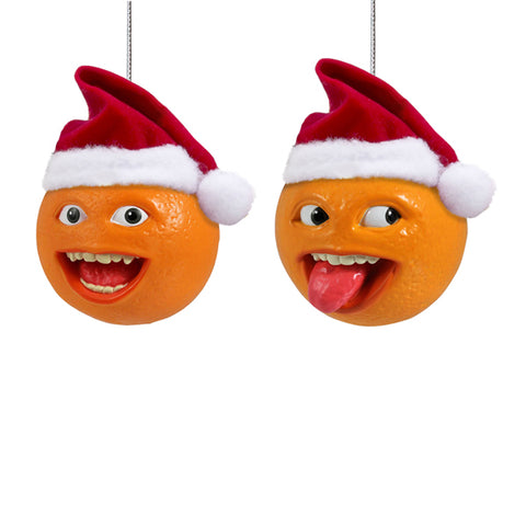 Annoying Orange With Santa Hat Christmas Ornaments  (Set Of 24)