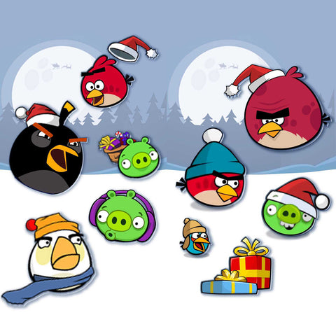 Angry Birds Christmas Window Clings (Set Of 24)