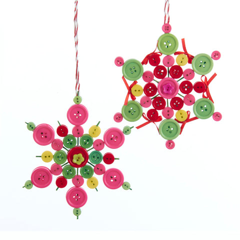 Button Snowflake Christmas Ornaments (Set of 24)