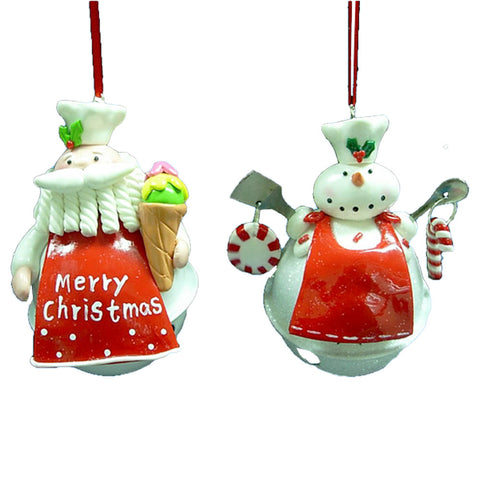 Kurt Adler Santa and Snowman Chef On White Bell Christmas Ornaments (12 Piece Set)