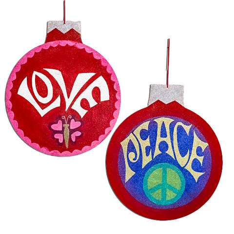 "Kurt Adler Oversize Cardboard Round ""Love"" & ""Peace"" Sign Christmas Ornaments (Set Of 12)"