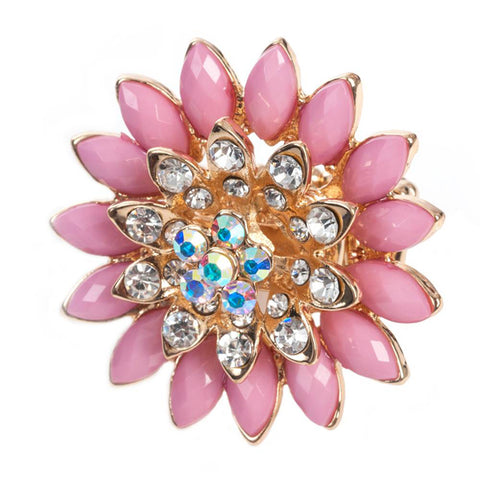 Pink and Gold Expandable Flower Ring