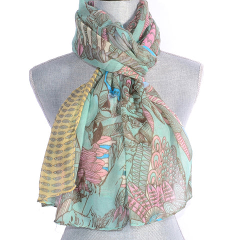 Green Parrot Design Scarf