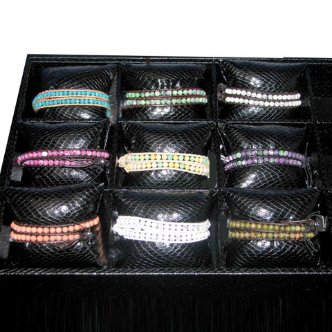 2 Row Wrap Bracelet Assortment with Display 9 Assorted (36 Piece Set)