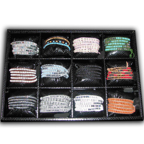 5 Row Wrap Bracelet Assortment with Display 12 Assorted (24 Piece Set)