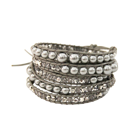 Grey Pearl 5 Row Beaded Wrap Bracelet
