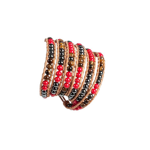 Red and Brown 5 Row Beaded Wrap Bracelet