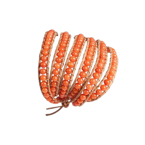 Coral 5 Row Beaded Wrap Bracelet