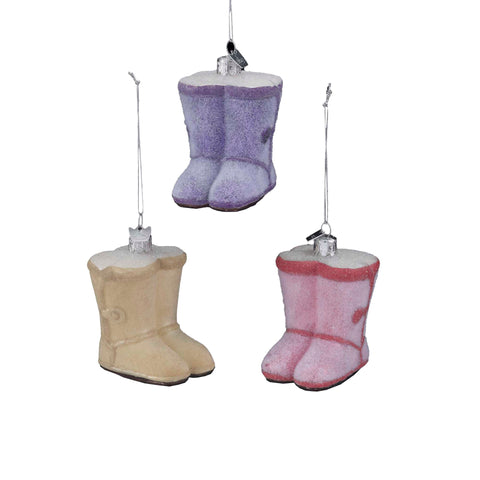 Kurt Adler Noble Gems Short Button Boot Glass Ornaments, 3 Assorted (Set Of 12)