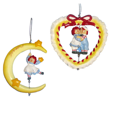 Kurt Adler Raggedy Ann & Andy Spinner Christmas Ornaments 2 Assorted (Set Of 12)
