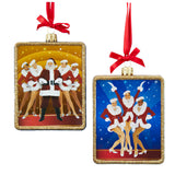 Kurt Adler Rockettes Glass Rectangle Ornaments, 2 Assorted (Set Of 6)