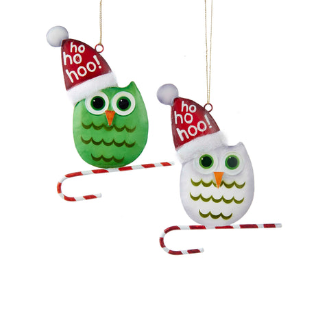 Green and White Snowbird Owl Christmas Ornaments (Set of 12)