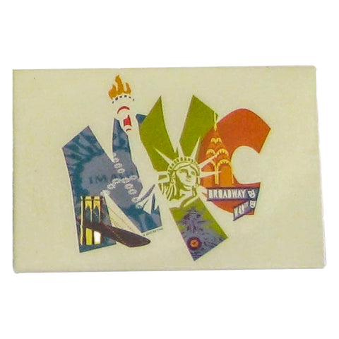 NYC Block Letter With Icons Souvenir Magnet (Set Of 12)