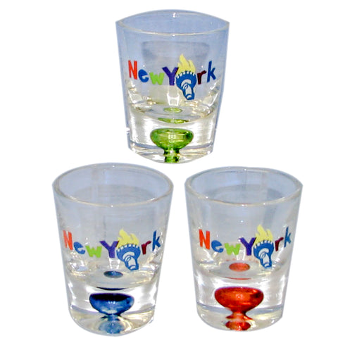 NYC Souvenir Bubble Shot Glass 3 Assorted (Set Of 12)