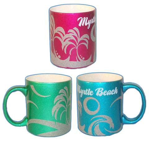 Myrtle Beach Glitter Souvenir Mugs (Set Of 6)