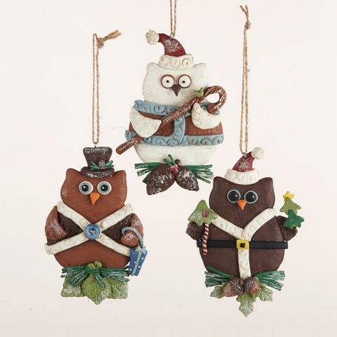 Claydough Owl Christmas Ornaments 3 Assorted (Set Of 12)