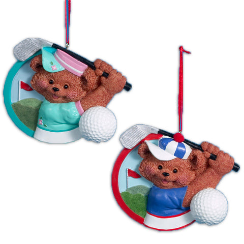 Boy And Girl Bear Golf Christmas Ornaments (Set Of 12 )