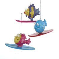 Colorful Fish On Surfboard 3 Assorted (Set Of 12)