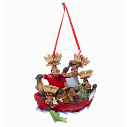 Moose Family Of 4 In Boat Christmas Ornaments (Set Of 12)