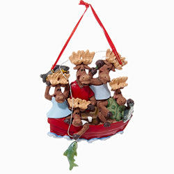 Moose Family Of 5 In Boat Christmas Ornaments (Set Of 12)