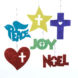 Kurt Adler Star, Cross, Peace, Noel, Heart, & Joy Christmas Ornaments (Set Of 24)