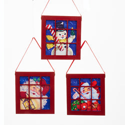Wooden Santa and Snowman Window Ornaments, 3 Assorted (Set of 12)