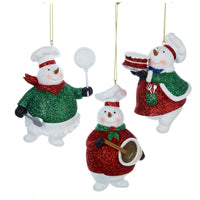 Kurt Adler Snowman Baking Christmas Ornaments (Set Of 12)