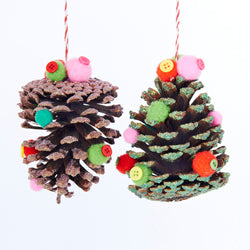 Kurt Adler Pinecone With Pom Pom & Button Christmas Ornaments 2 Assorted (Set Of 12)
