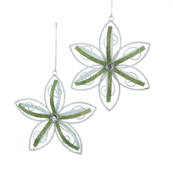 Green & White Snowflake Christmas Ornaments 2 Assorted (Set Of 12)